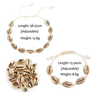 Bohemian Seashells Necklace Set For Women Gold Silver Girl Rope Chain Choker Bracelets Bangles Elegant Simple Beach Jewelry Gift