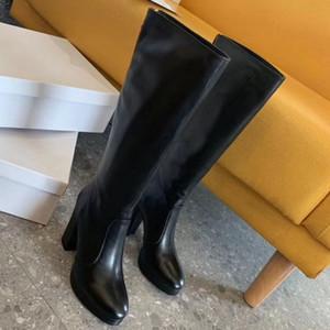 Fashion Designer Talons Cuir véritable Femmes Chaussures New Automne Bottes d'hiver Bottes femme longue Runways