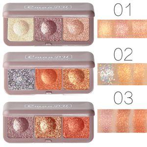 Cmaadu 3 Colors Soft Earth Color Shadow Metallic Glitter Eye Shadow Pallete Waterproof Shimmer Eye Makeup Cosmetic Maquillajes
