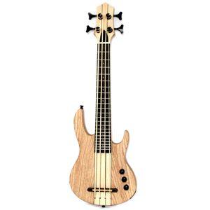 MiNi 4string ukulele baixo elétrico cor natural pescoço-thru estilo