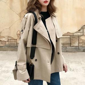 de las mujeres Sólido cortocircuito de la manera Otoño Trench Coats floja ocasional caliente rompevientos Corea mujeres del estilo de la vendimia elegante abrigo Nueva
