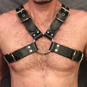 MSemis تسخير Mens العبودية مثلي الجنس فاسق اللجام الجلد الرجال الجسم الكتف الصدر نصف حزام صنم مثلي الجنس bdsm