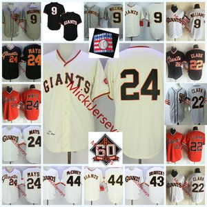 Mens # 24 Willie Mays # 9 Matt Williams # 22 Will Clark Jersey nähte Jahrgang 1989 # 43 Dave Dravecky # 44 Willie McCovey Jersey S-3XL