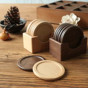 6PCS / 설정 호두 나무 컵 받침 Placemats의 장식 광장 라운드 내열 음료 매트 홈 테이블 차 커피 컵 패드