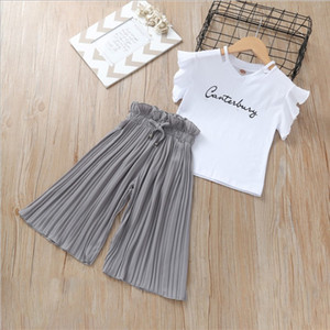 Neonate Dolci Estate Abbigliamento 2019 Ins Childrens lettera stampata T-shirt e Ruffle pantaloni a gamba larga 2 pezzi Set Kids Fashion Set