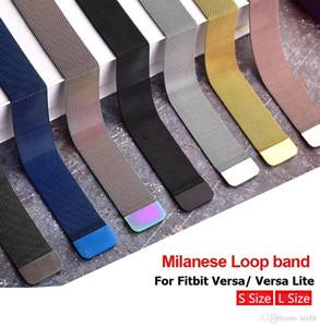Para las bandas de Fitbit Versa Lite Milanese bucle de la correa del metal del acero inoxidable de reemplazo magnética pulsera de reloj de pulsera de moda inteligente