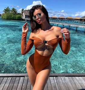 Buckle Bikini 2020 New Monokini Long Sleeve Solid Swimwear Women Biquini Hollow Out Sexy Bodysuits Push Up Female Swimsuit Fused
