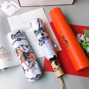VENTA CALIENTE Carta paraguas Mujeres Hombres camiseta clásica prited Camellia paraguas 3 LOGO paraguas plegable a prueba de viento con el regalo de la caja 31