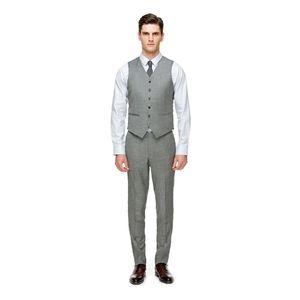 2019 Farm Light Grey Wedding Novio Chalecos Padrino de boda Trajes Trajes Slim Fit Vestido para hombre Traje Chaleco Fiesta de baile Chaleco de boda (Chaleco + pantalones)