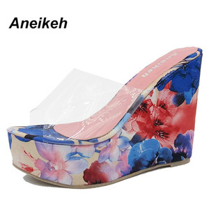 Aneikeh Nova Primavera 2018 Mulheres Chinelos de Verão Cunha Sandálias Mulheres Transparente Geléia Sapatos de Salto 12.5 CM Alta Azul Laranja 063-123 #