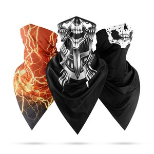 High Quality Summer Ice Silk Sunscreen Triangle Scarf Men's Outdoor Dust Mask Quick-drying Magic Headscarf Skeleton Pattern Scarf