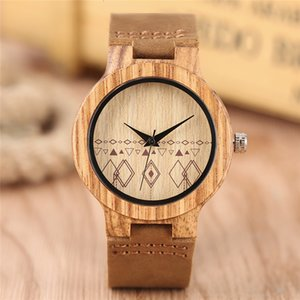 Lovely Arrival 2017 Ladies New Quartz Wristwatch Hand-made Wooden Case Geometric Patterns Dial Genuine Leather Band Women Watch