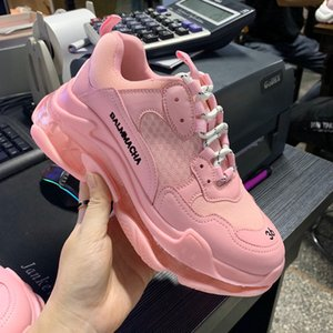 2020 air cushion increased mesh breathable jelly transparent bottom sports couple genuine leather daddy shoes female ins fashion