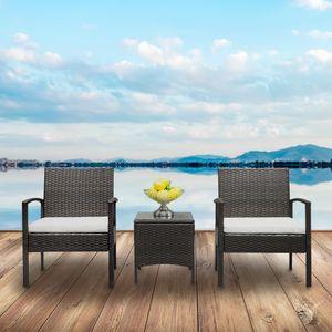 HOT المبيعات الروطان أريكة مجموعة 2PCS كراسي الذراع 1PC طاولة القهوة براون التدرج شحن مجاني