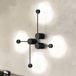Lâmpadas LED Wall Modern Wall Lights arte do ferro nórdicos para casa de banho Preto Luzes do Espelho Stair Loft Quarto Sconce Lamp