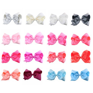 8 Inch Barrettes Bow Single Color 40 Colors Grosgrain Ribbon Alligator Clips Girls Hair Accessories Boutique Big Bowknot Barrette