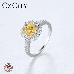 CZCITY Luxo 925 Sterling Silver Yellow Birthstone Brilhante Anéis de Noivado para As Mulheres Brilhantes Moda Bridals Anéis Jóias