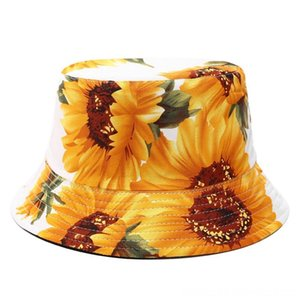 Printed Sunflower Bucket Hat Fisherman Panama Cotton & Caps Hats, Scarves & Gloves Layer Fabric Sun Hats Casual Unisex Fashion Caps Panama F
