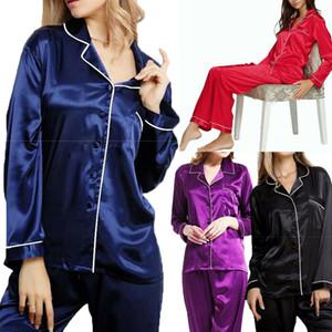Yeni Geliş Seksi Bayanlar Lüks Uzun Kollu Saten Gece Gömlek Pantolon Bottoms Pijama Takımı Pijama Homewear Gece Giyim Seti