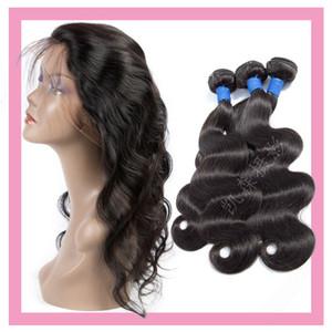 Indien cheveux humains Mink corps vague 3 Bundles Avec 360 Lace Frontal réglable Bande Dentelle Frontal Avec Bundles Natural Color 8-28inch