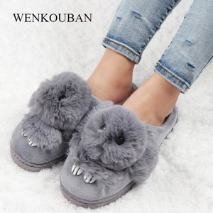 Kürk Slaytlar Kadınlar Kış Kürklü Terlik Bayanlar Bunny Ev Terlik Kapalı Shoes Peluş Tavşan Terlik Claquette fourrure MX200425 Isınma