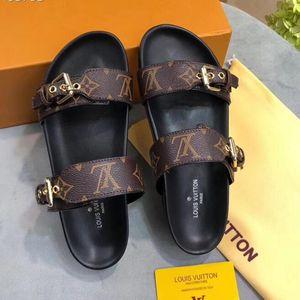Designer Scarpe Donna Bom Dia FLAT MULE scorrere del sandalo di modo signora Stampa Lettera pelle suola di gomma Pistone con 35-40 con box L18
