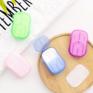 20 Adet / Seti Tek Kutulu Sabun Kağıt Taşınabilir Aromaterapi El Yıkama Banyosu Mini Seyahat Sabun Kutusu Sabun Bazı Banyo Aksesuarları