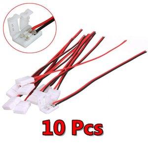 저렴한 커넥터 10PCS / 많은 전기 연결 스플 라이스 PCB의 8mm / 10mm와 3528/5050 주도 스트립 와이어를위한 2 핀 전원 커넥터 어댑터
