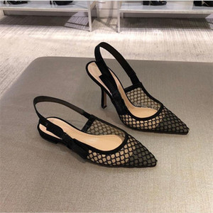 Sapatos Hot Sale-Sexy Summer Preto respirável Gaiolas Pointed Toe bailarina sandálias femininas Roman