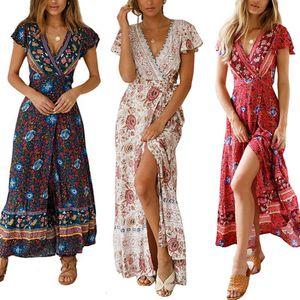 Sommer 2019 neue Frauen clother Strandartkleid Eleganter beiläufiger böhmischer gedruckter Strandkleid-langer Rock