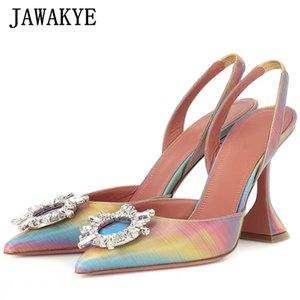 Glittery Candy Color Crystal Strange Cup high heel Sandals Women Pointy toe Gladiator pumps Sexy Party Shoes zapatos de mujer