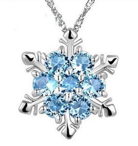 Bijoux de mode Bleu Cristal Flocon De Neige Frozen Fleur 925 Pendentif En Argent Collier Avec Chaîne 12 pcs
