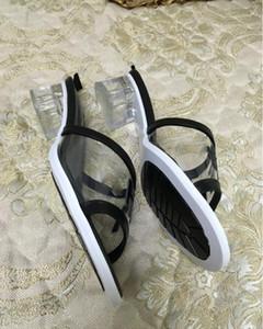 moda 2020 Hot venda das mulheres PVC curtos saltos sandálias senhora do escritório legal ocasional verão saltos Holiday Beach sapato senhora preto tamanho grande 38 41