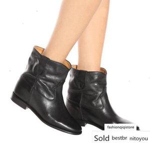Piel perfecta calidad Isabel Cluster Botas Calle Paris Fashion Marant nuevos zapatos de cuero genuinos del dedo del pie Ronda de las botas del tobillo