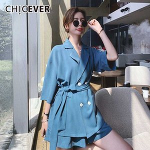 CHICEVER Two Piece Set Women Lapel Collar Lace Up Plus Size Blazer High Waist Casual Wide Leg Shorts Female Suits Summer 2020