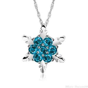 Collar del suéter clásico de la flor de cristal azul del copo de nieve collares pendientes de circón para la declaración de las mujeres al por mayor de joyería de regalo de Navidad