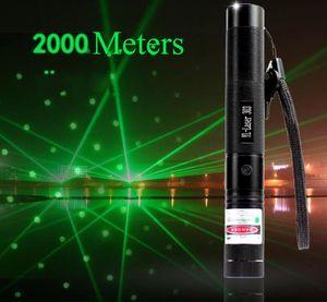 Caza de alta potencia Puntero láser verde Linterna táctica Recargable Foco ajustable Antorcha Luz con cargador de batería