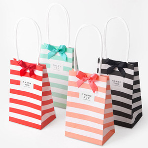 Small Paper Bag Tote Stripe Candy Color White Kraft Advertising Promotion Package Birthday Party Favor Wedding Gift Bag