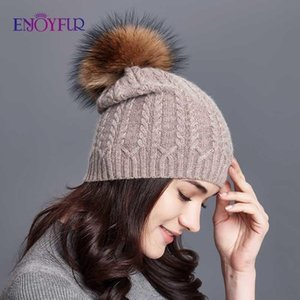 ENJOYFUR Winter Hats For Women Twist-type Cashmere Knitted Hat Female Beanies Girl gorro Fashion Thick Warm Pompom Caps MX191130