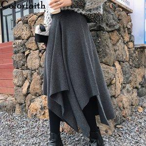 Colorfaith 2019 Mulheres Outono Inverno saia longa assimétrica Casual Estilo coreano Moda Feminina Saia fêmea elegante