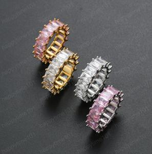 Hip-hop Zircon Ti square zirconium Ring 7mm Zircon plated Genuine Gold Trend Men's Ring Link Band Mens Hip Hop Jewellery