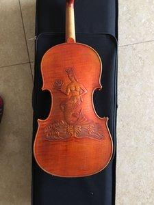 Ручной работы резные русалка скрипку 4/4 твердой древесины высокого качества клена профессиональный Violino Fiddle ремесло Ручная роспись краской Бразилия лук аксессуары