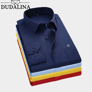Dudalina 2019 Erkekler Gömlek Plus Size Renk Cep Uzun kollu Klasik Erkek Gömlek Biçimsel İş Gömlek Man Nakış