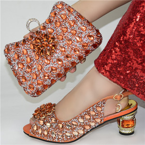 Super High Nigerian Women Shoes and Bag Set for Party Italian Style Matching Shoes and Bag in Orange Color for Wedding