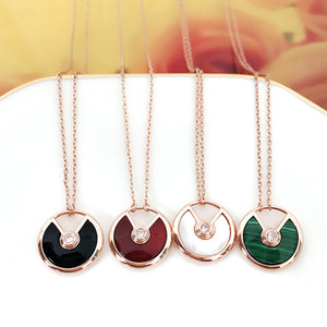 Silver-plated oro rosa 18 carati Jin Hongyu midollo malachite amuleto collana colore dorato catena degli ossicini femminile madre bianca del pendente di perla