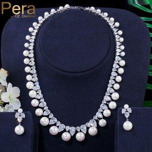 Pera joyería blanca elegante de la gota del agua Cubic Zirconia Ronda perla cuelga el pendiente del traje de las mujeres collar de la boda Set colgante J291
