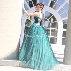 Tatlı Hunter Yeşil Balo Quinceanera Elbiseler 2019 Spagetti Sweep Tren Kristal Boncuk Uzun Örgün Balo Parti Törenlerinde Için Tatlı 15 Arapça