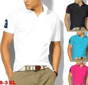 Dos homens novos da marca Pólos Camisas homens grandes cavalo pequeno crocodilo Camisa Sólidos manga curta Verão Casual Camisetas artigo Camisas Mens boa qualidade