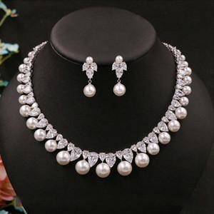Zirkonia runde Perlen-Drill Edler Empfindliche Brauthalsketten-Anhänger-Bolzen-Ohrringe Schmuck Hochzeit Zusätze für Frauen