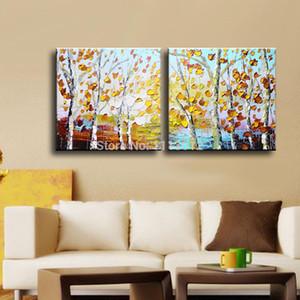 Handmade 2 Панель Palette Knife Fall Tree Oil Painting Art On Canvas Living Room Home Decor Современный абстрактную картину